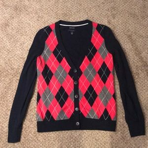 Tommy Hilfiger Pink and Navy Argyle Cardigan